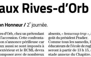 RIVES D'ORB-MENDE avant match